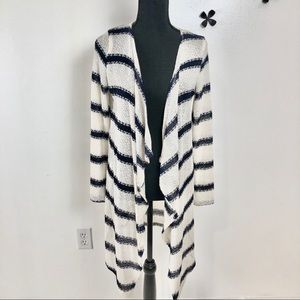 NY&Co. white and blue stripped cardigan size small